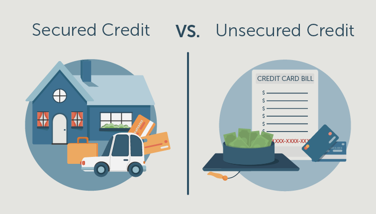 illustration showing the difference between secured and unsecured credit