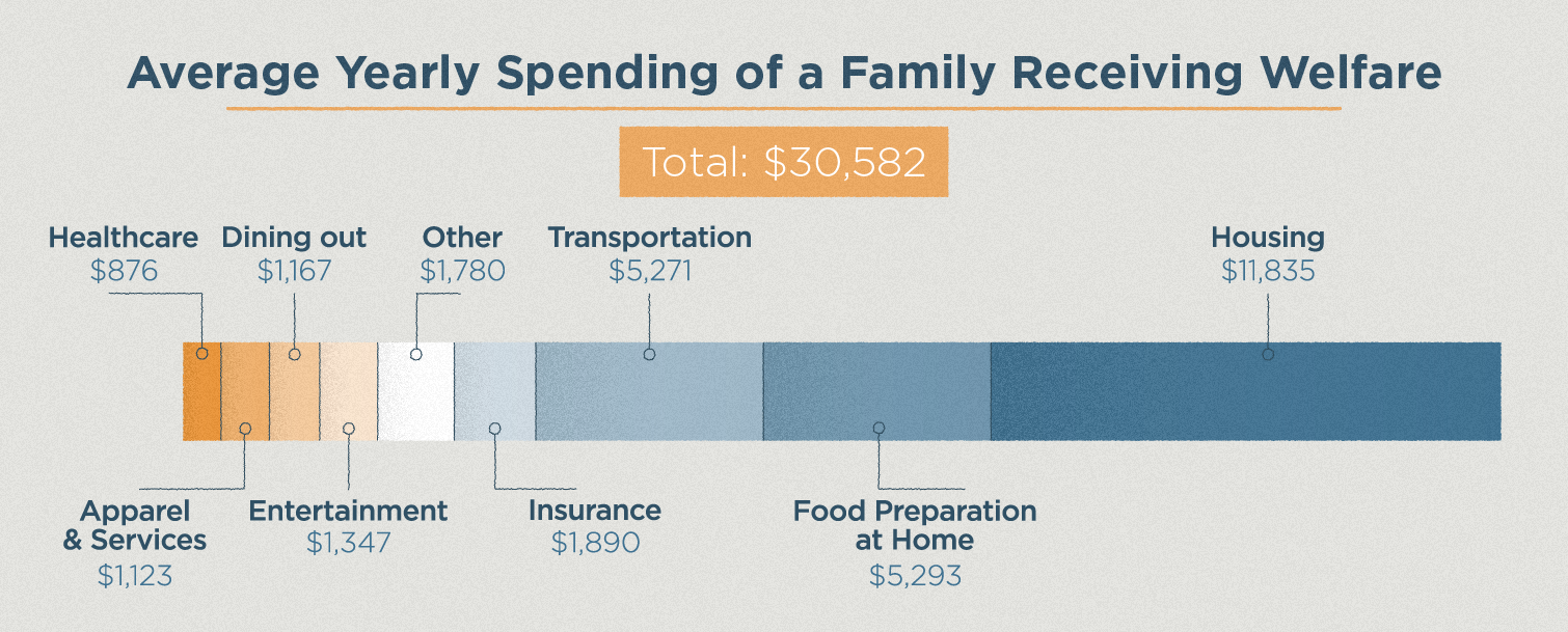average spending of a family receiving welfare