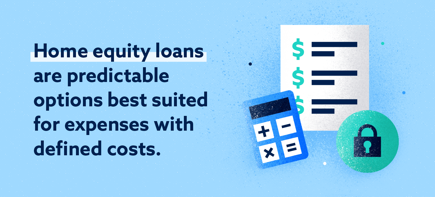 Home equity loans are more suitable predictable options for expenses with defined costs