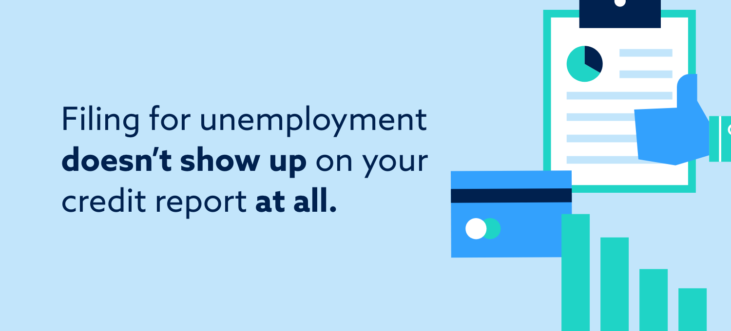 Filing for unemployment doesn't show up on your credit report at all.