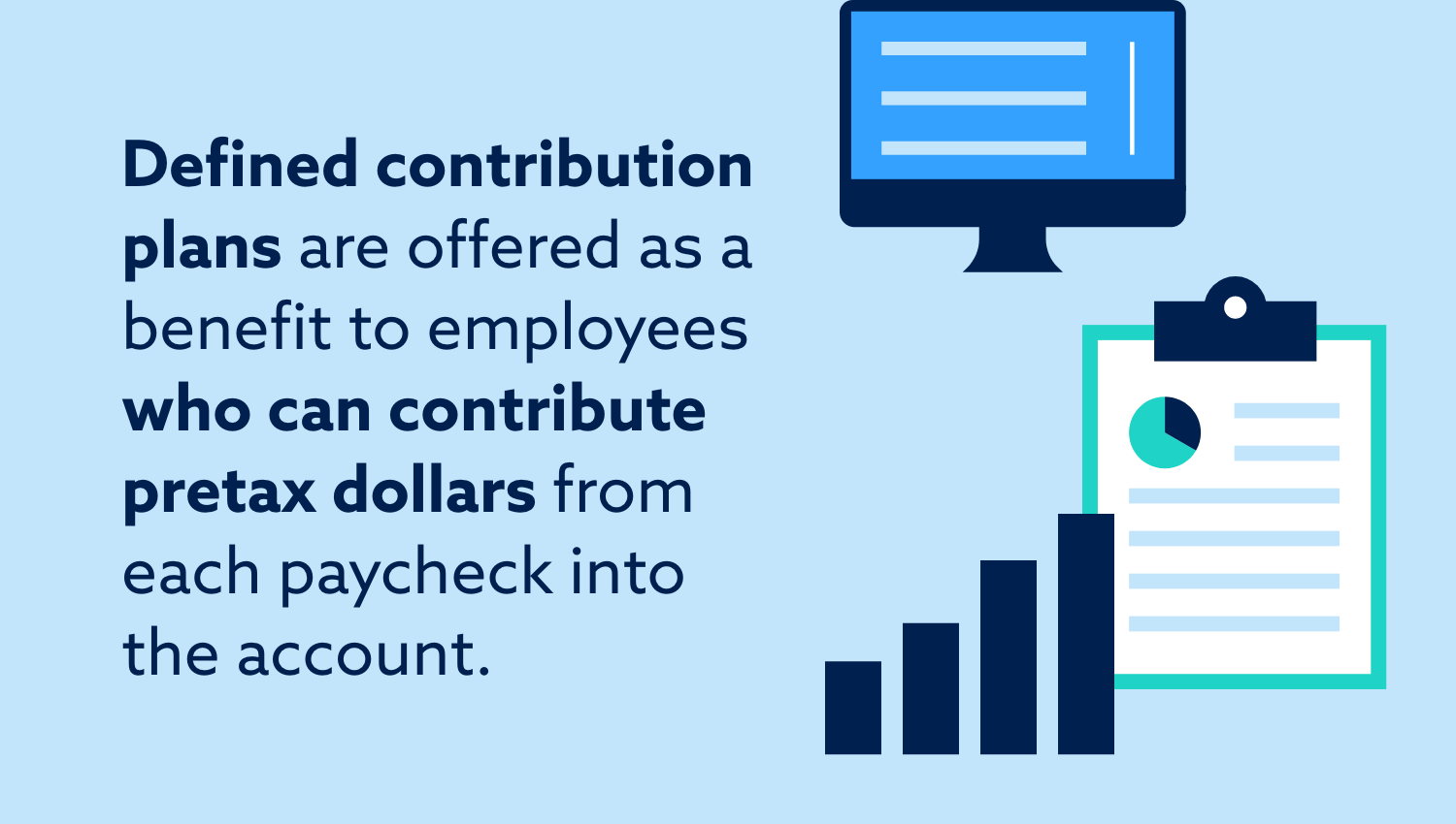 Defined contribution plans are offered as a benefit to employees who can contribute pretax dollars from each paycheck into the account.