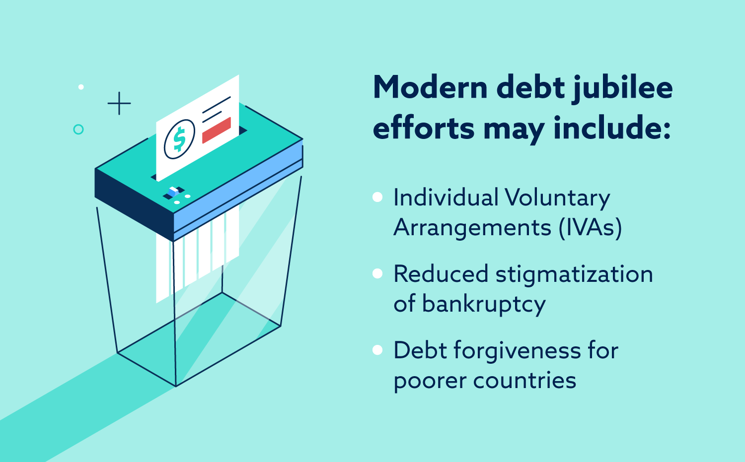 Modern debt jubilee efforts may include: individual voluntary arrangements (IVAs), reduced stigmatization of bankruptcy and debt forgiveness for poorer countries.