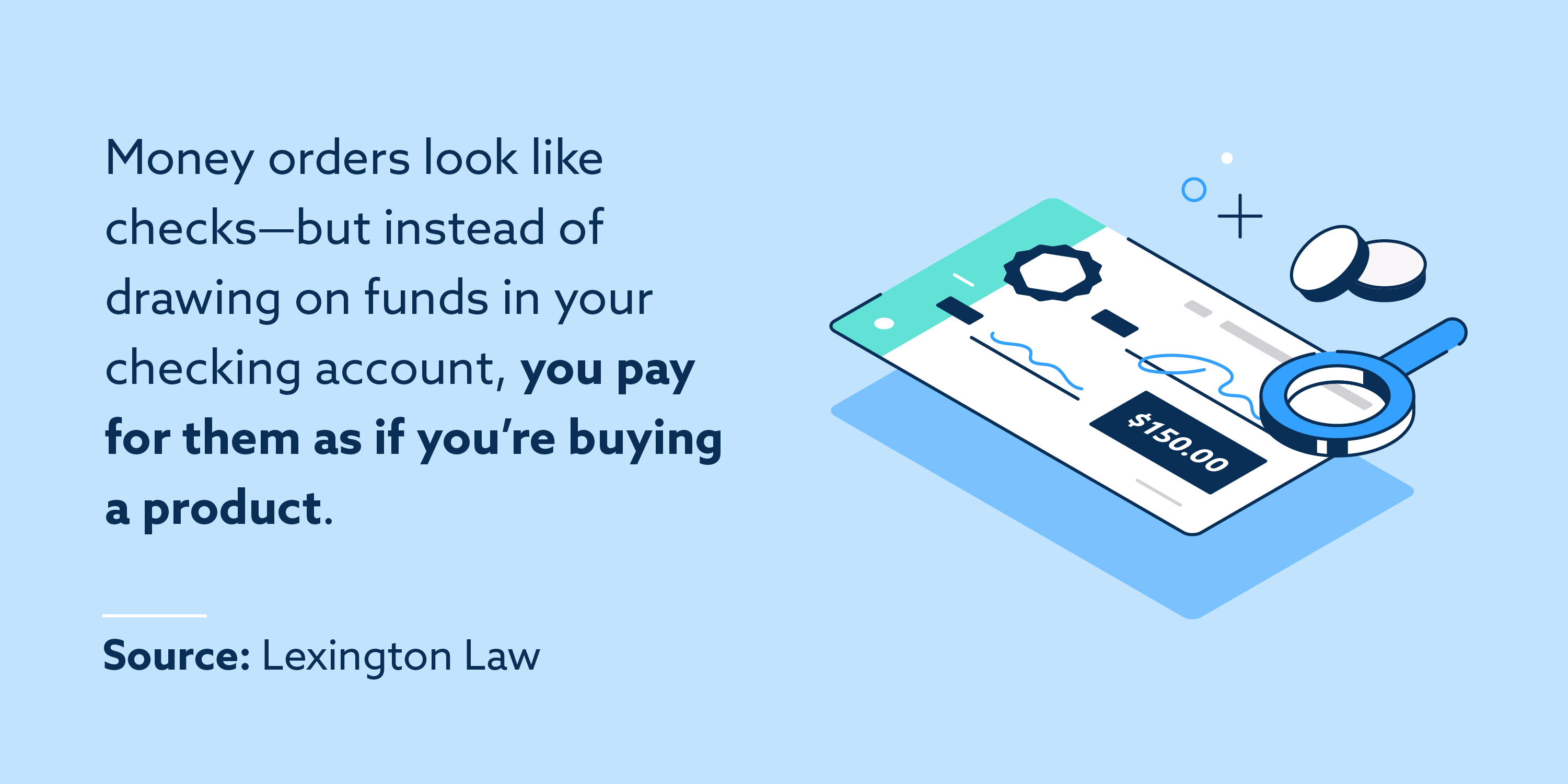 Money orders look like checks—but instead of drawing on funds in your checking account, you pay for them as if you're buying a product.