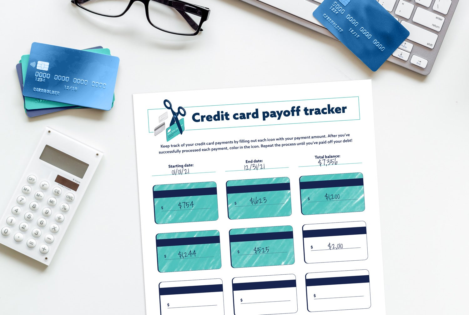 Credit card payoff tracker